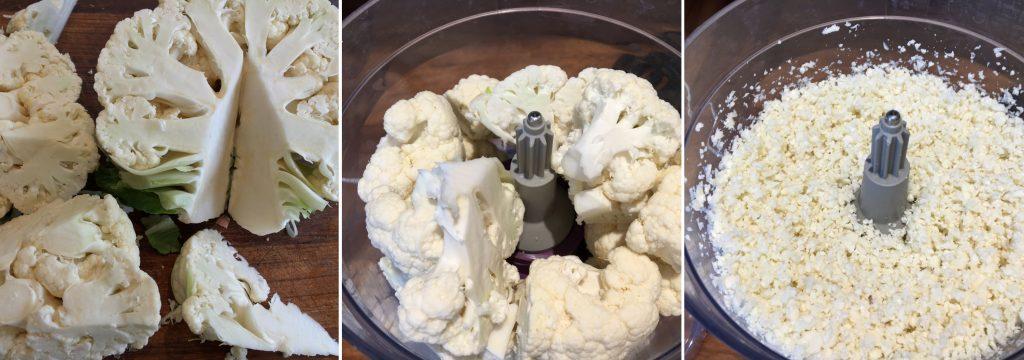 cauliflower rice collage